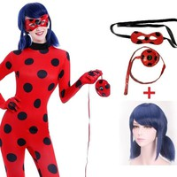 Cool miraculous lady bug ladybug marinette cosplay cosplay costume girls adult kids children with wig Carnival fantasia fancy dressAT_93_12