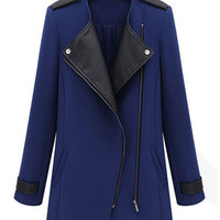 Faux Stitching Solid Color Lapel Thick Trench Coat