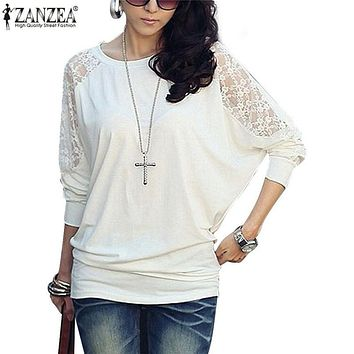 ZANZEA Blusas 2017 Spring Ladies Elegant Lace Blouse Women O neck Batwing Long Sleeve Shirt Sexy Casual Loose Tops Plus Size