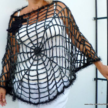 One Size Spider Web Poncho Halloween Gothic Hippie by GiftsPoint