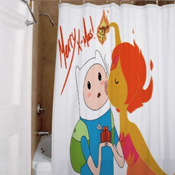 Adventure Time With Finn and Jake Flaminn Christmas, special custom, shower curtains, available size, amazing gift