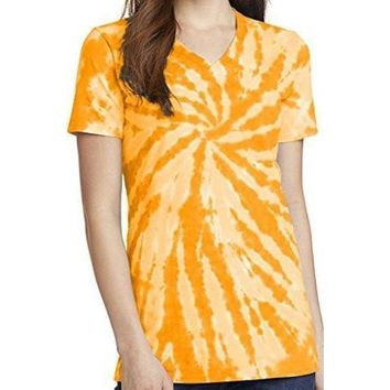 Yoga Clothing for You Womens Tie Dye V-neck Tee Shirt