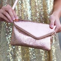 Lucy Wristlet Clutch {Shimmery Rose Gold}