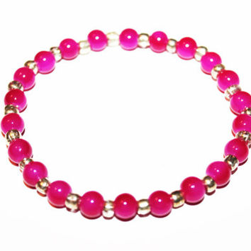 Pink Beaded Bracelet with Silver Accents