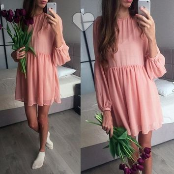 Streetstyle  Casual Pink Pleated Round Neck Puff Sleeve Mini Dress