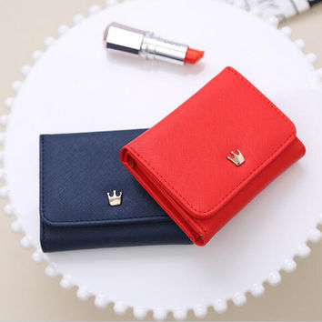 2017 Women Hasp Wallet Trifold Crown Card Holder Ladies Handbags Sweet Clutch Purse Money Bags Free Shipping High Quality P400