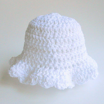 Toddler  Girl White Hat 2 To 5 Year Old  Infant  Cotton Summer Cap Children Spring Clothing Baby Bonnet With  Crochet Lacy Scallop Edge