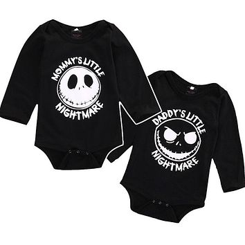Mommy's And Daddy's Little Nightmare Infant Baby Onesuit Bodysuit