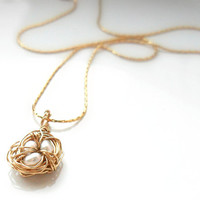 Tiny Bird's Nest  Simple Gold Necklace, 14K gold chain, wire wrapped nest with 3 fresh water pearls  everyday simple jewelry Whimsical