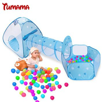 Tumama Kid Toy Tent Foldable 3 in 1 Indoor Ball Pool Tunnel Tube Teepee Tipi Tent Children Baby Adventure Play House Game Tents