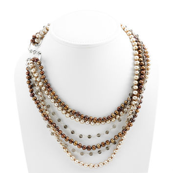 Artknots La Boheme Sterling Silver Brown Pearl Necklace