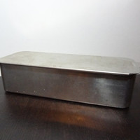 Vintage Retro Mirro Aluminum Loaf Pan or Storage Box/Container with Slide Lid - 5197M
