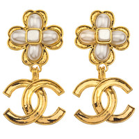 Chanel Clover Motif Dangling Earrings with CC and Pearl | 1stdibs.com