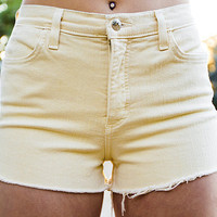 High Waisted Yellow Shorts