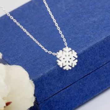 925 Sterling Silver Jewelry Snowflake Sterling Silver Necklaces & Pendants Statement Necklace Summer Jewelry For Women Bijoux