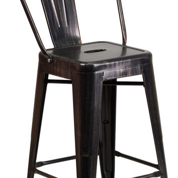 24'' High Black-Antique Gold Metal Indoor-Outdoor Counter Height Stool