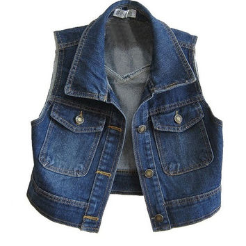 Retro Cropped Denim Vest with Point Collar = 1929804868