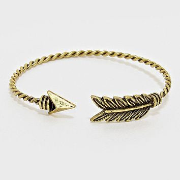 Twisted Arrow Antique Gold-Plated Cuff Bangle
