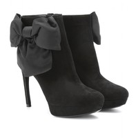 Bow-Embellished Suede Ankle Boots : Alexander McQueen * mytheresa.com