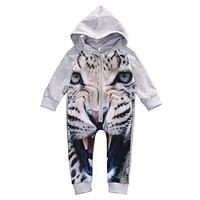 Winter Newborn Romper Infant Kids leopard Long Sleeve Romper Baby Boys Girls Outfits Cotton Hooded Jumpsuit Clothes