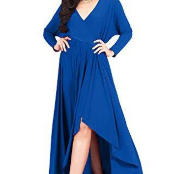 KOH KOH Sleeve Wrap Slit Formal Fall Winter Cocktail Gown