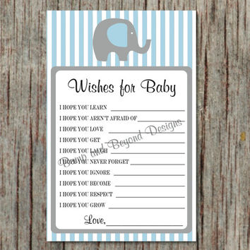 Powder Blue Grey Elephant Baby Shower Game Dear Baby Wishes for Baby Advice diy Instant Download Printable Boy Game PDF - 054