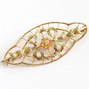 Antique Art Nouveau 10K Yellow & Green Gold Old Mine Cut Diamond Bar Pin - Vintage 1910s Edwardian Lacy Filigree Bow Brooch Belcher Jewelry