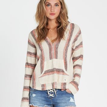 Billabong Women's Baja Beach Classic hooded Poncho Sweater | Fire