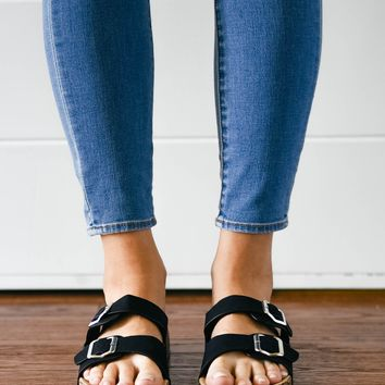 Black Double Buckle Slip On Sandal