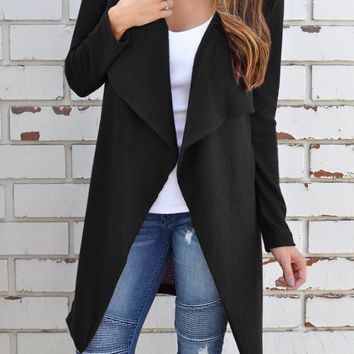Black Casual Cardigan Cross-Woven Outerwear Jacket