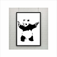 Panda With Guns by Banksy Print / Abstract / Graffiti Art / US Letter - A4 up to A0 size / Street Art / Wall Art / Provocative Room Decor