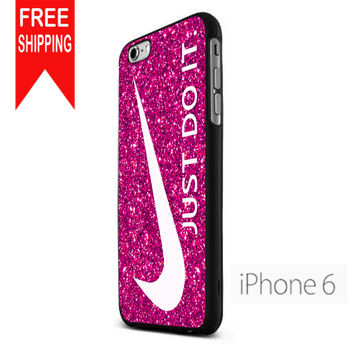 Nike Just Do It Pink Sparkle Glitter FDL iPhone 6 Case