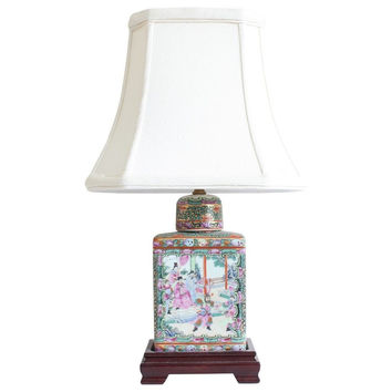 """Beautiful Chinese Rose Canton Porcelain Tea Caddy Table Lamp 17.5"""""""