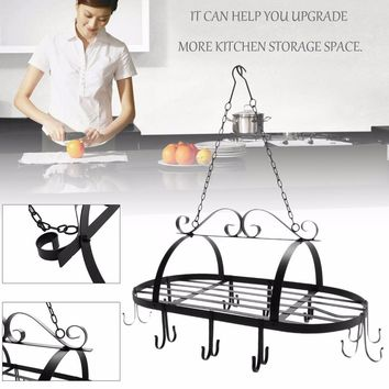 Portable Hanging Iron Pot Rack with 10 Hooks Cookware Organizer Kitchen Storage Pan Hanger Storage Rack Cookware Holder
