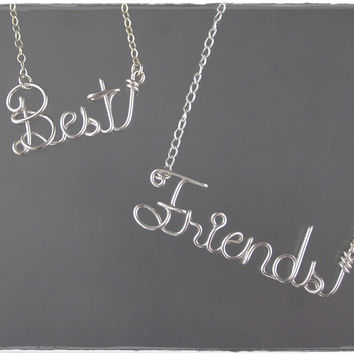 Best Friends Wire Word Name Pendant Necklaces (2)