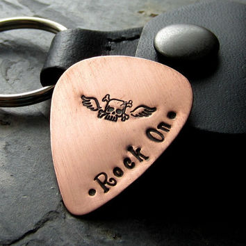 Hand Stamped Guitar Pick with Leather Case Key Chain - Father's Day Gift - Music Lover-Rock Star
