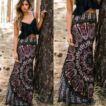 Skirts BOHO Hippy Women Summer Floral Vintage Long Maxi Slim Skinny Skirt Beach Clothing Casual Summer Sexy Women