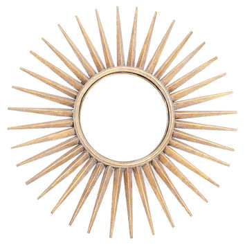 Mirrors, Sunburst Wall Mirror, Brushed Gold, Wall Mirrors