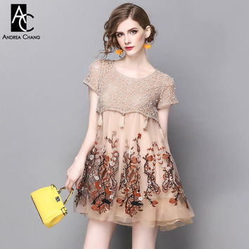 spring summer runway designer womans dresses khaki a-line mini dress beading lace top high quality flower embroidery cute dress