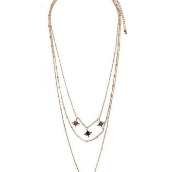 Horn & Starbust Layered Necklace