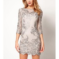 Women's Embroidered Gauze Three Quarter Sleeve Dress - USD $ 72.09