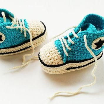 Turquoise plus champagne crochet shoes, Crochet Converse shoes, Baby turquoise shoes,