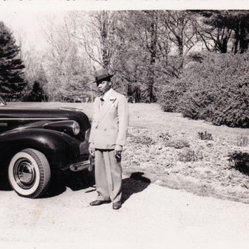 Vintage  Photo African American Man with Car
