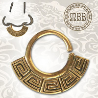 "Ornate 14g (1.6mm) Antiqued Tribal Brass Septum Nose Piercing 3/8"" ring diameter 9mm 16mm length Brass width 20mm"