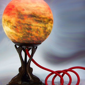 Infinity Lamp - Dolphin Sculpture Lamp - Lighted Globe - Table Light - Dolphins - Table Lamp