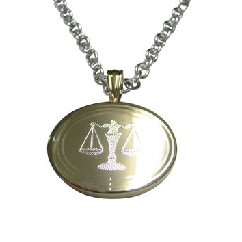 Gold Toned Etched Oval Scale of Justice Law Pendant Necklace