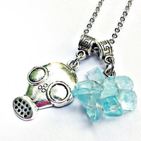 Let's Cook Blue Sky Necklace Inspired by Breaking Bad: gas mask charm and crystal meth chip beads