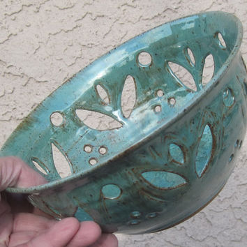 Bowl with Hand Carvings of Tulips - Berry Bowl - Visit shop for more Handmade Pottery