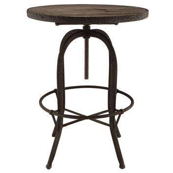 Sylvan Industrial Style Round Wood Top Bar Table Brown
