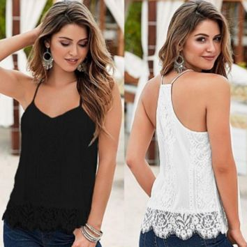 Solid Color Lace Vest Sleeveless Shirt